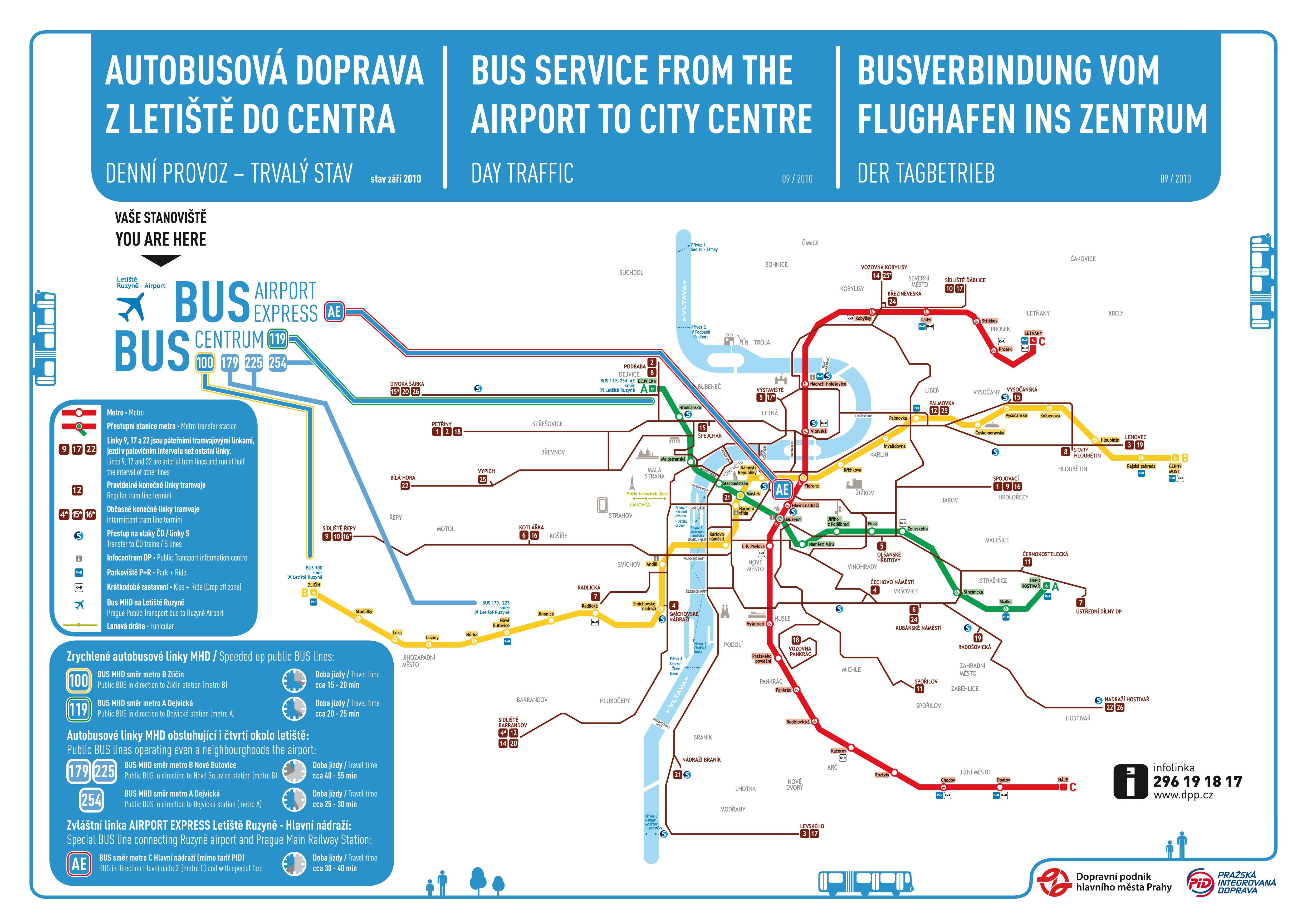 Схема автобусных маршрутов в аэропорт Рузыне.